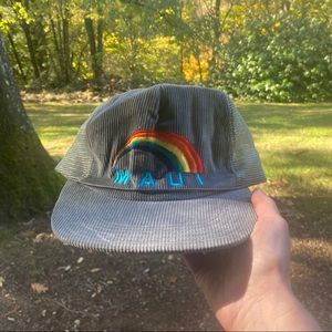 Maui rainbow corduroy trucker hat tan